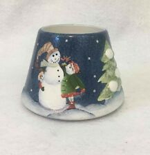 Home Interiors Candle Topper Ceramic Shade Blue Winter Snowman Holiday Snow