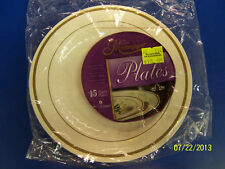 """Ivory/Gold Masterpiece Solid Color Wedding Party 6"""" Plastic Dessert Plates"""