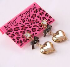 E511 Betsey Johnson Love Heart  Chain w/ Ribbon Earrings US