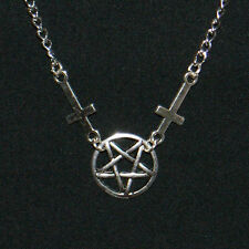 INVERTED CROSS & PENTAGRAM NECKLACE - goth deathrock steampunk biker satanic