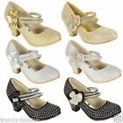 GIRLS WEDDING SHOES PARTY BRIDESMAID DIAMANTE LOW HEEL MARY JANE EVENING SANDALS