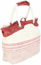Timberland Women's Canvas & Leather Shopping or Beach Bag (Light Beige/Red)
