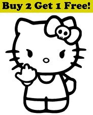 Hello Kitty Flipping Off Decal Sticker Car Bumper Window Wall Cute Cat Adorable