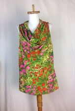 L SUNNY LEIGH Floral Cowl Neck Sleeveless Top Shell Pink Green Women size Large