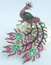 "Gorgeous 5.51"" Peacock Animal Brooch Pin Multicolor Rhinestone Crystals 05115C2"