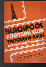 Blackpool FC Tangerine News Match Magazine August 24 1974 Bolton Wanderers
