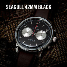 Seagull 1963 Air Force Hand Winding Mechanical Chronograph Watch 42mm Black