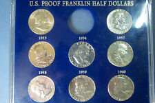 "1955-1963   9-COIN  ALL ""PROOFS""  FRANKLIN SILVER HALF DOLLARS SET, ""BU"" in Case"