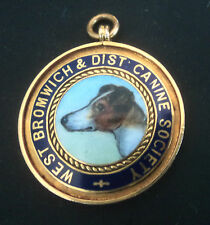 9ct Gold Enamel Fob DOG Medal - West Bromwich Canine Society 1926 -  Fox Terrier