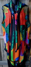 DILEMMA HAND PAINTED DELAUNAY INSPIRED ART TO WEAR SILK VEST AND SCARF, OS+!