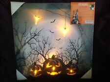 "HALLOWEEN SPOOKY PUMPKINS LED ""LIGHT UP"" CANVAS Picture  BATTERIES INCLUDED"