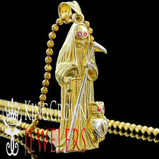 Mens 10K Solid Yellow Gold Grim Reaper Pendant Angel Of Death Santa Muerte Charm