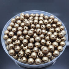 New 30Pcs 10mm Brown Acrylic Round Pearl Spacer Loose Beads Jewelry Making