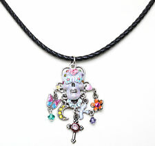 KIRKS FOLLY SUGAR SKULL DREAMS BRAIDED LEATHER CORD NECKLACE silvertone NEW!
