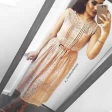 ZARA NUDE PINK LACE CROCHET FLARED MIDI LACE TIE UP DRESS LARGE REF. 2607/659
