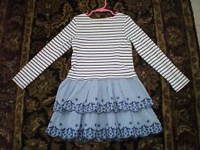 Mini Boden Girl's Stripy ruffle Dress Size 6/7