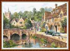 "'VINTAGE VILLAGE' Cross Stitch Chart/Pattern (18""x12½"") Detailed/Landscape NEW"