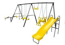 Playground Backyard Kids Metal Outdoor Play Swingset Playset Slide Gym Swing Set