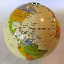 Small Cream Colored Globe with Metal Poles & Country Labels MAGNETIC POLE  4""