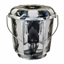 13L BLACK Plastic Bucket With Lid Carry Handle Large Storage Container Tub Caddy