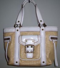 COACH M05K-113 Legacy Natural Straw White Leather Tote Shoulder Handbag Purse