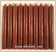 "10 BROWN MINI 4"" CANDLE MAGICK CANDLES (Spell Altar Chime Wicca Pagan Ritual)"