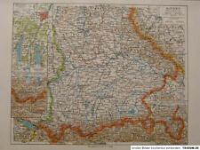 Landkarte Bayern südl. Teil, München, Nürnberg, 1935 Bibli. Institut