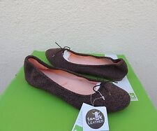 SANUK YOGA PRIMA BROWN ANIMAL DOT SUEDE BALLET FLATS SHOES, US 8/ EUR 39 ~NWT