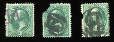 1800s (3) Better fancy cancels on faulty stamps