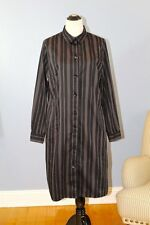 MARIMEKKO 46 XL Mika Piirainen Black Gray Striped Shirt Dress Shirtdress Cotton