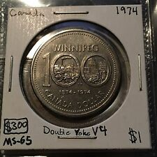 1974 DOUBLE YOKE V4 1 Dollar Canada  MUST SEE  No Reserve!  (Coin #59)