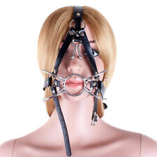 Stainless Steel Oral Ring Mouth Plug Gag Head Bondage Restraint Harness BDSM Toy