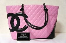 CHANEL Pink x Black Lambskin Leather Large Size Cambon Tote Shopper Bag N210