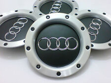 BLACK AUDI RS4 SET OF 4 ALLOY WHEEL CENTRE HUB CAPS TT A1 A2 A3 A5 A4 A6 A8