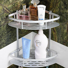 Aluminum Dual Tier Shower Caddy Shelf Bathroom Corner Rack Storage Towel Holder
