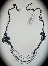 NWT - KENNETH COLE HEMATITE & SILVER CHAIN NECKLACE w/SIDE EMBELLISHMENT DANGLES
