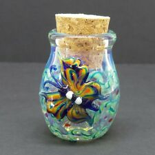 3-D Butterfly Glass Jar Hand Blown Fitted Cork Collectible Trinket Container A