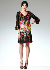 New LEONA EDMISTON RUBY Black Red Multi Floral Print Kimono Sleeve Dress XS/6/8
