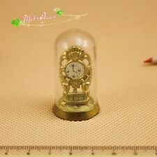 1/12 Dollhouse Miniature traditional translucent cover Vintage golden Clock
