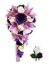 2pc wedding flowers:Cascade Bridal bouquet&Boutonniere:Lavdender,Purple,White