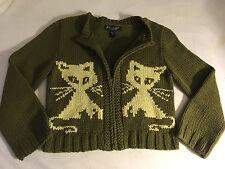 Womens Size Small Betsey Johnson Kitty Cat Cardigan Sweater Green Yellow Zip