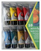 10 x 75ml Reeves Acrylic Paints Tubes Artist Art Set Water Based Red Blue White