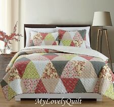Classic Farmhouse Triangle Patchwork Bedspread Quilt 3pc Set Queen-New