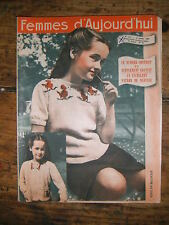 Femmes d'aujourd'hui N° 257 1950 Mode vintage 2  patrons Couture Broderie Robe