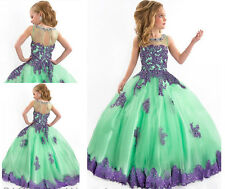 2016Mint Pretty Ball Gown Flower Girl Dresses For Girls Pageant Communion Dress