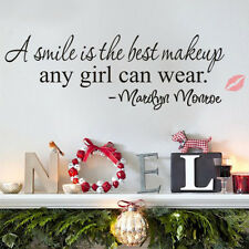 Hot Smile Makeup Art Marilyn Monroe Quote Vinyl Wall Sticker Home Decor Decal