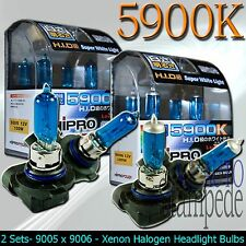 9005 + 9006 5900K SUPER WHITE 100W XENON HALOGEN HEADLIGHT BULBS - LOW&HIGH BEAM