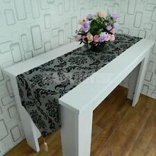 "78 x13"" Flocked Damask Floral Table Runner Cloth Wedding Home Party Desk Decor"