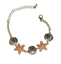"BRACELET 8"" Long Sand Dollars & Coral Color Starfish Vacation SEA LIFE LINKS"