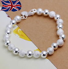 925 Sterling Silver Bracelet 8mm Ball Bead Textured & Smooth Gift Bag UK